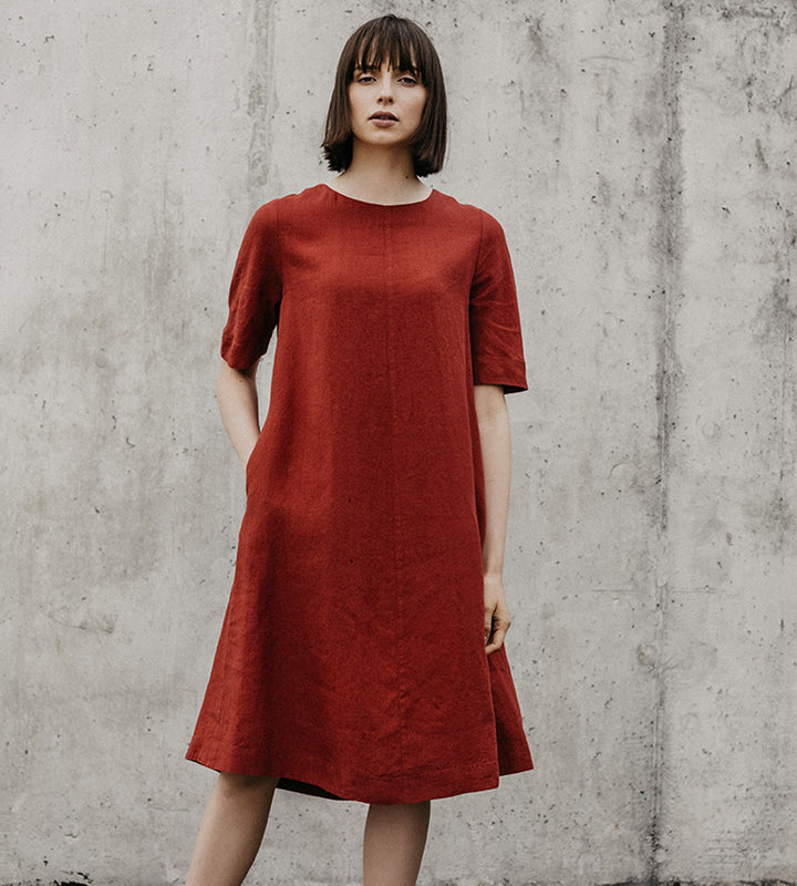 Fiery Red Comfy Linen Dress