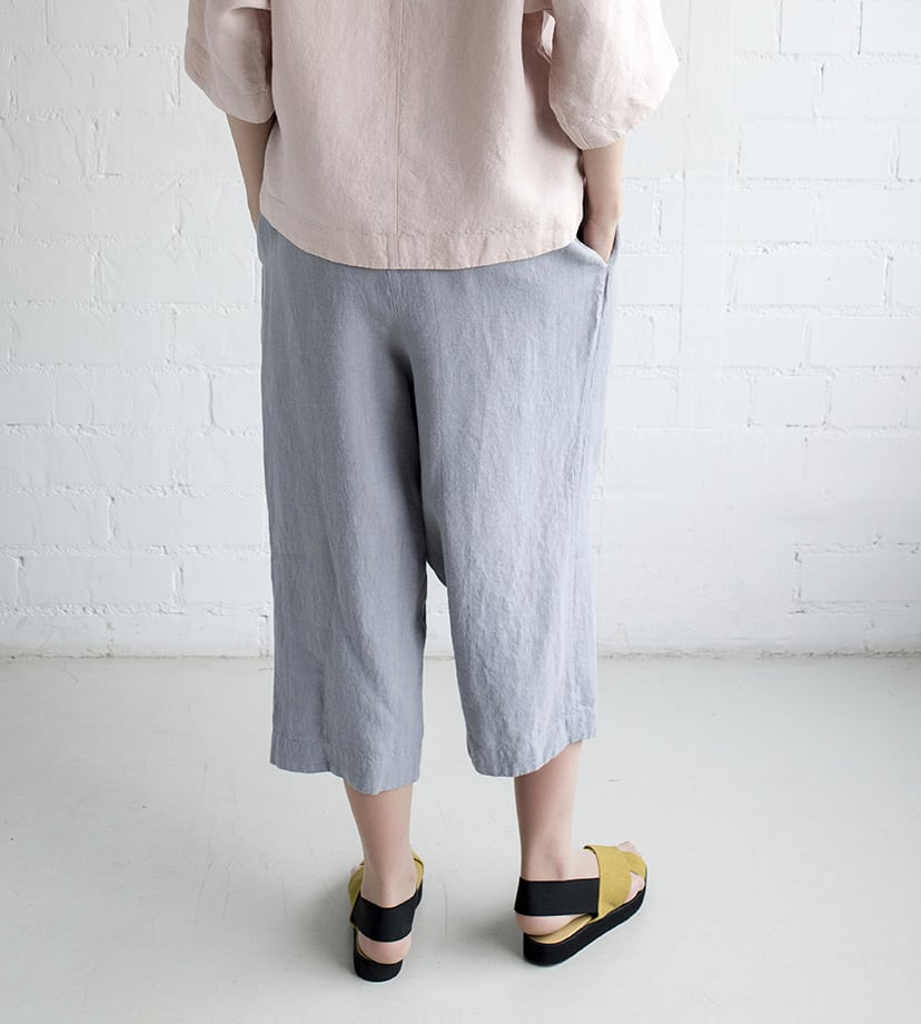 Motumo - Grey Blue Culotte Trousers at Amberoot (2)