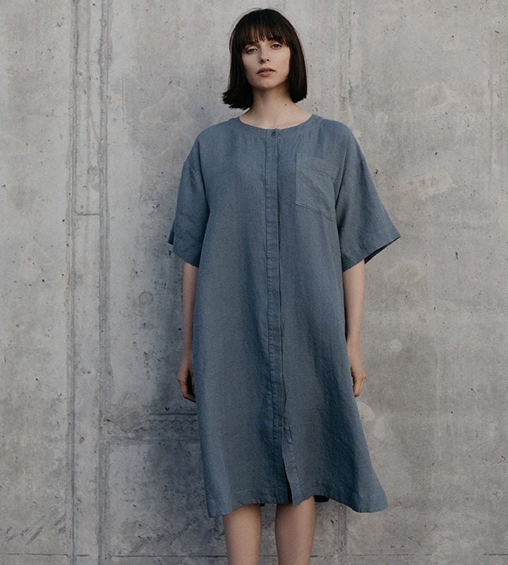 Grey Linen Buttoned Shirt Dress