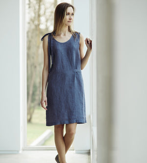 Motumo - Grey Linen Dress at Amberoot (1)