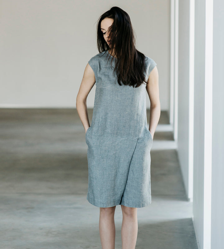 Motumo - Grey Linen Jumpsuit at Amberoot (1)