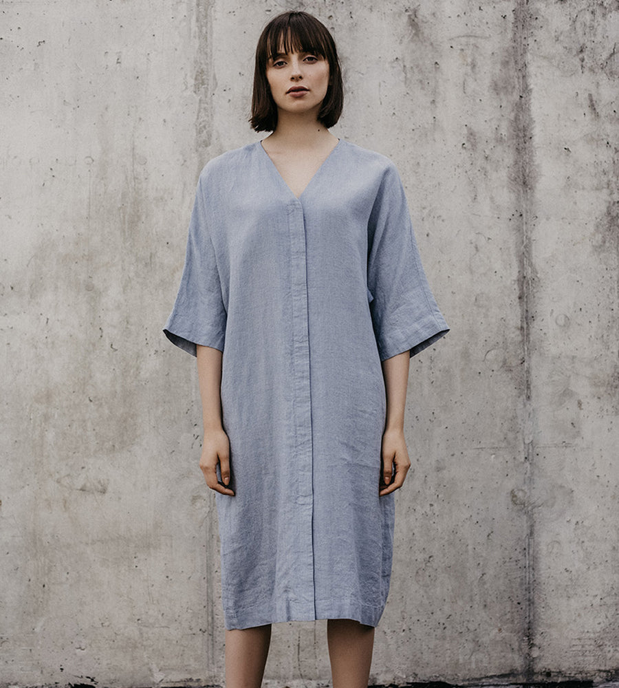 Grey Shirt Linen Wrap Dress