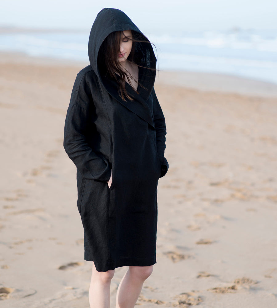 Motumo - Hooded Black Linen Beach Dress (1)