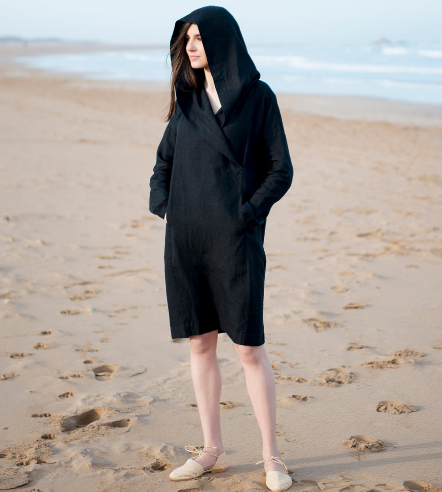 Motumo - Hooded Black Linen Beach Dress (2)