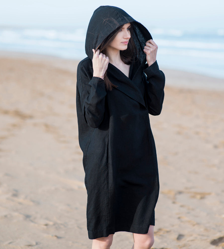 Motumo - Hooded Black Linen Beach Dress (4)