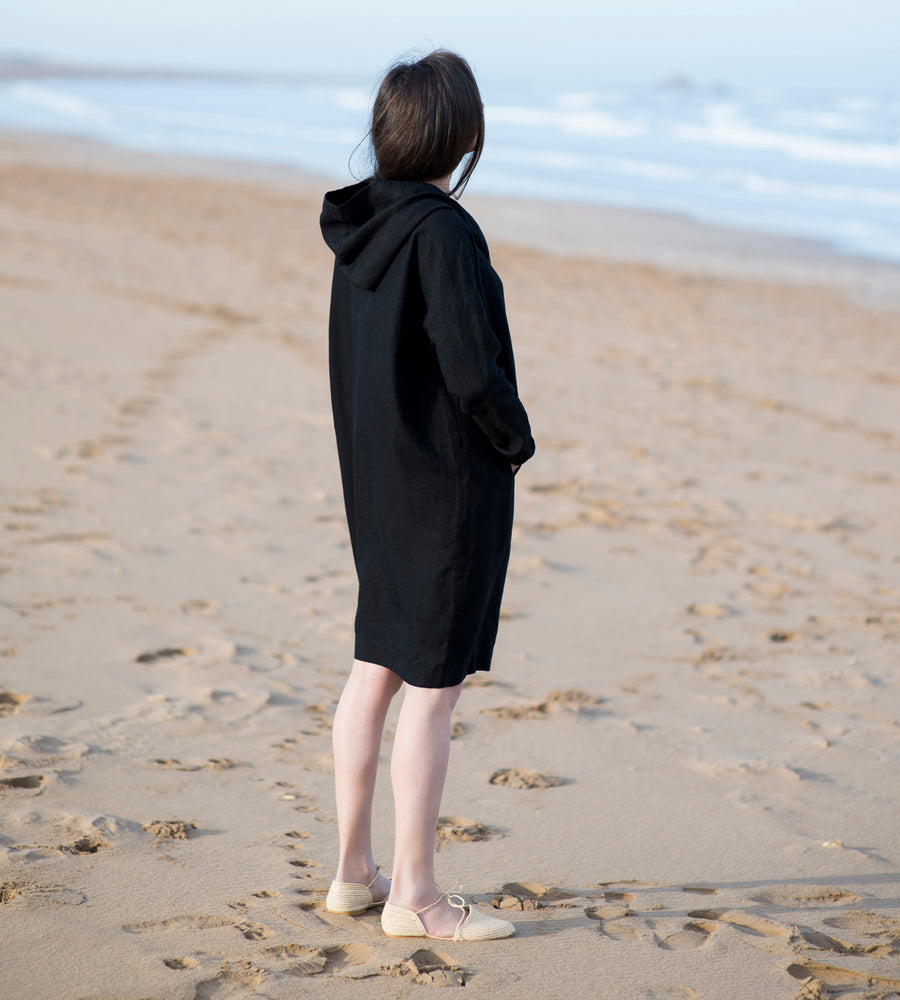 Motumo - Hooded Black Linen Beach Dress (5)