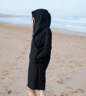 Motumo - Hooded Black Linen Beach Dress (6)
