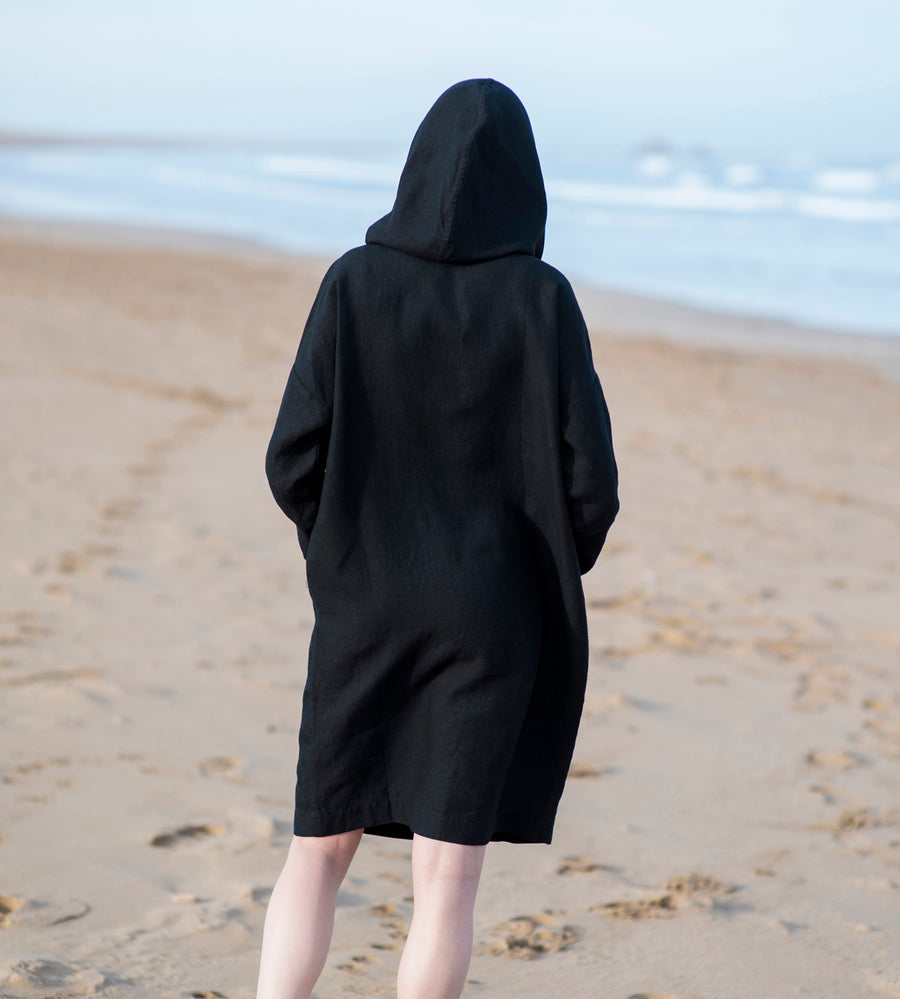 Motumo - Hooded Black Linen Beach Dress (7)