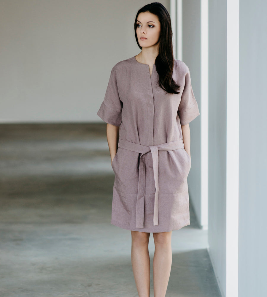Motumo - Lavender Linen Shirt Dress at Amberoot (1)