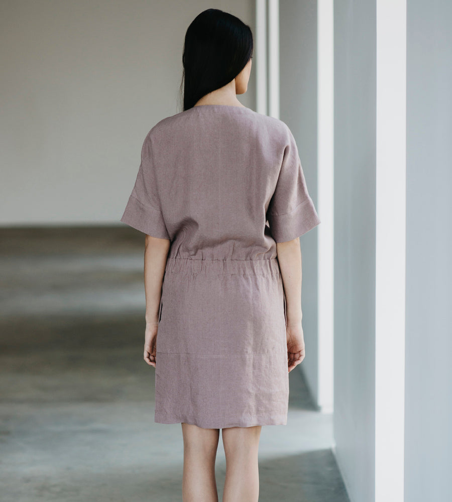 Motumo - Lavender Linen Shirt Dress at Amberoot (2)
