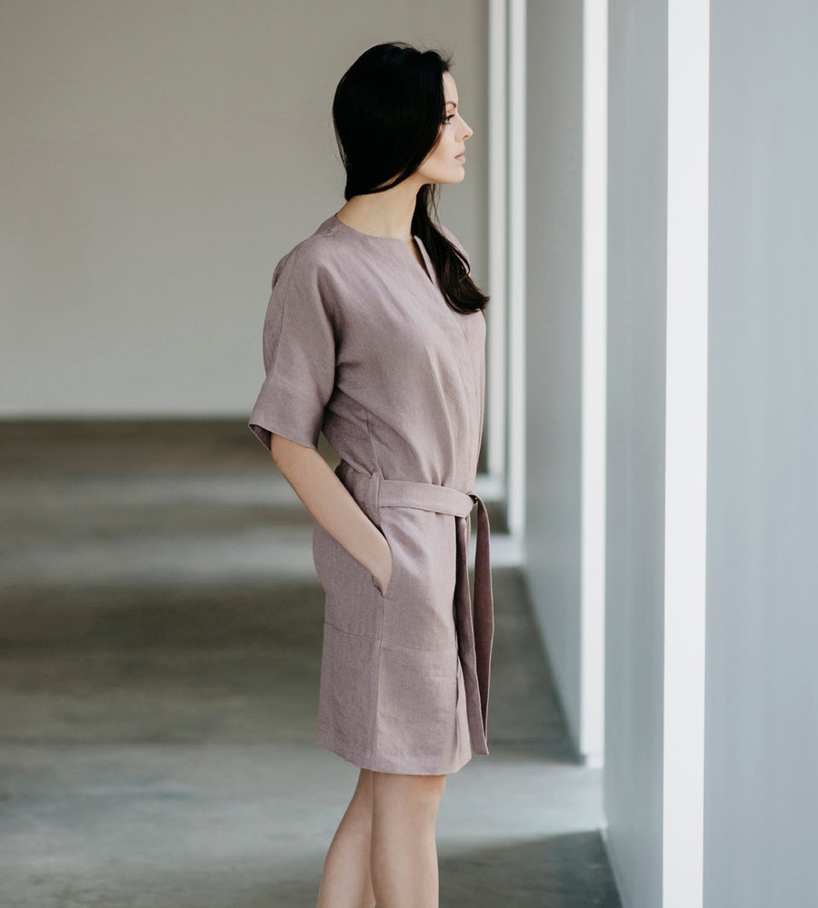 Motumo - Lavender Linen Shirt Dress at Amberoot (3)