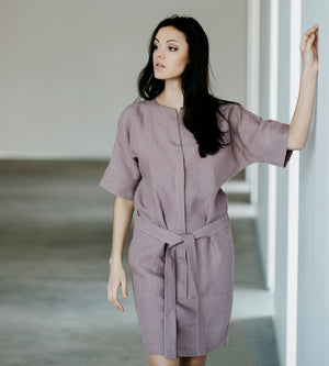 Motumo - Lavender Linen Shirt Dress at Amberoot (4)