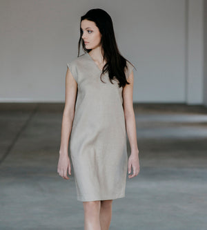 Motumo - Light Beige Linen Dress at Amberoot (1)