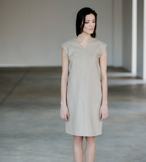 Motumo - Light Beige Linen Dress at Amberoot (3)