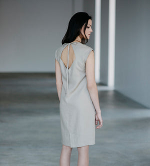 Motumo - Light Beige Linen Dress at Amberoot (4)