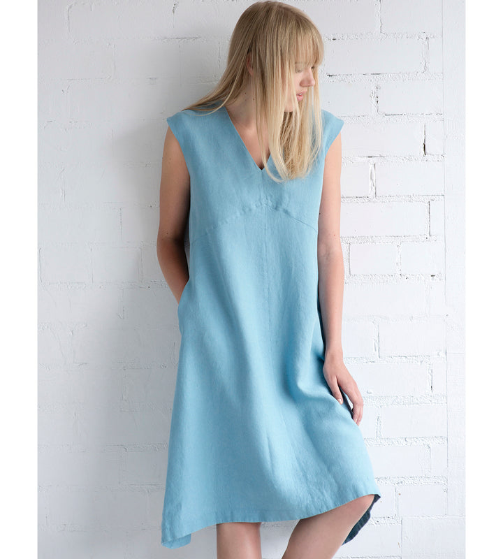 Motumo - Light Blue Linen Sleeveless Summer Dress at Amberoot (1)
