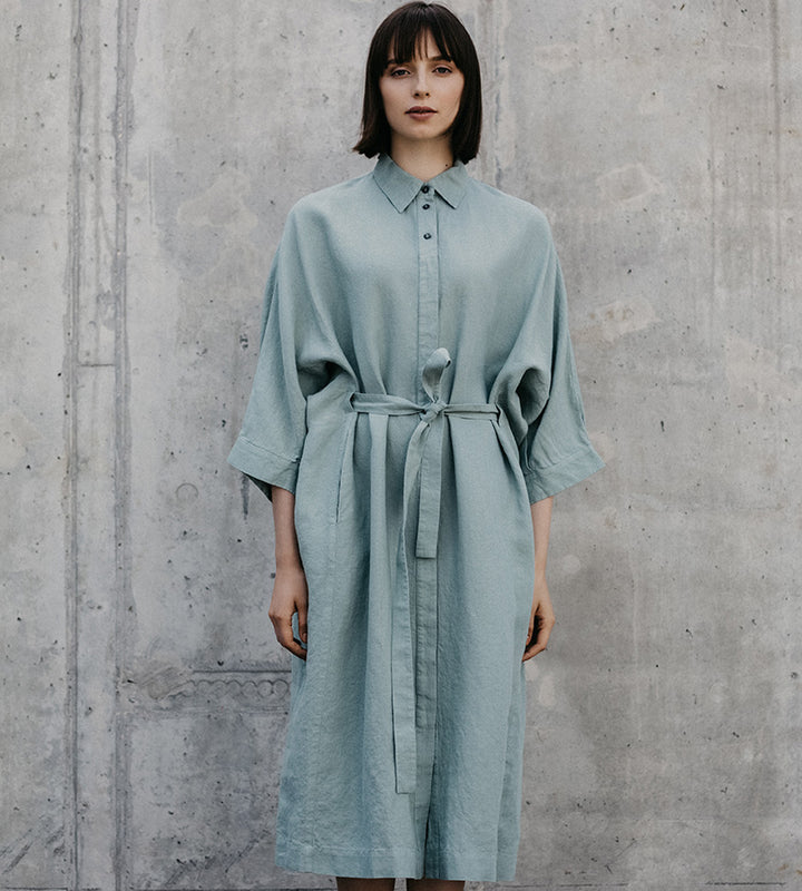 Light Blue Wide Belted Linen Dress