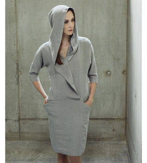Motumo - Light Grey Hooded Linen Dress at Amberoot (1)