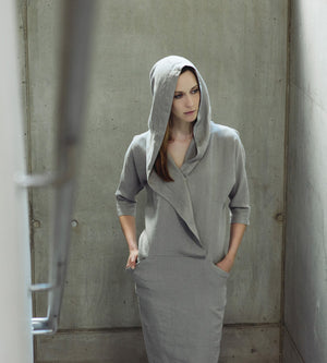 Motumo - Light Grey Hooded Linen Dress at Amberoot (2)