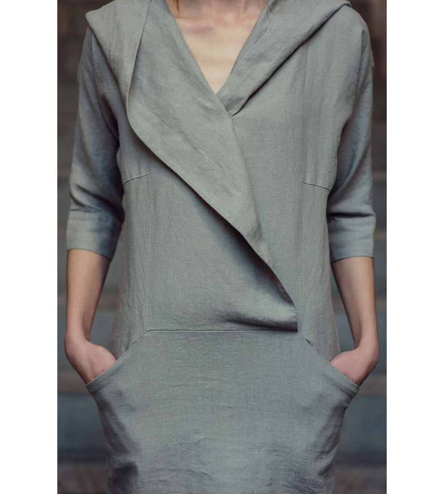 Motumo - Light Grey Hooded Linen Dress at Amberoot (3)