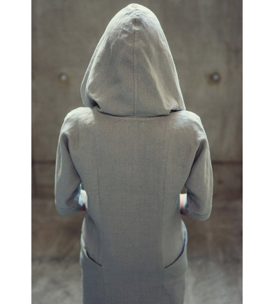 Motumo - Light Grey Hooded Linen Dress at Amberoot (4)