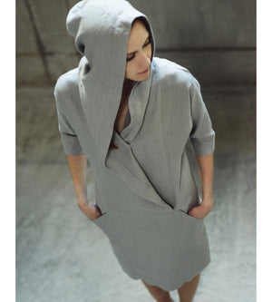 Motumo - Light Grey Hooded Linen Dress at Amberoot (5)