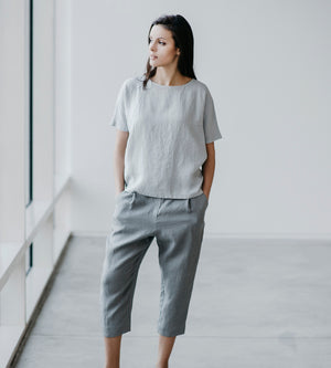 Motumo - Light Grey Linen Cropped Trousers at Amberoot (1)