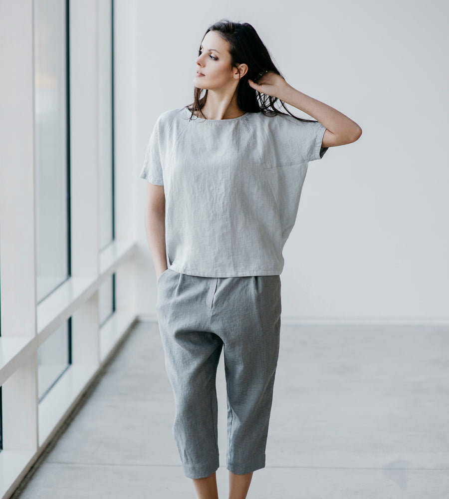 Motumo - Light Grey Linen Cropped Trousers at Amberoot (2)