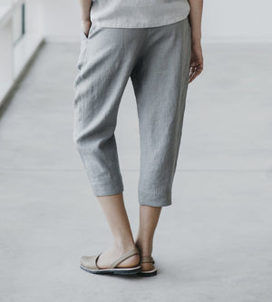 Motumo - Light Grey Linen Cropped Trousers at Amberoot (3)