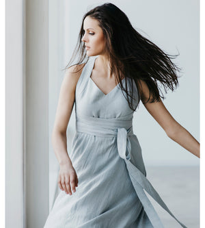 Motumo - Light Grey Linen Dress at Amberoot (3)