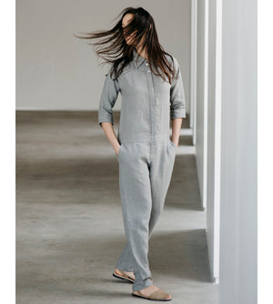 Motumo - Light Grey Long Linen Jumpsuit at Amberoot (1)