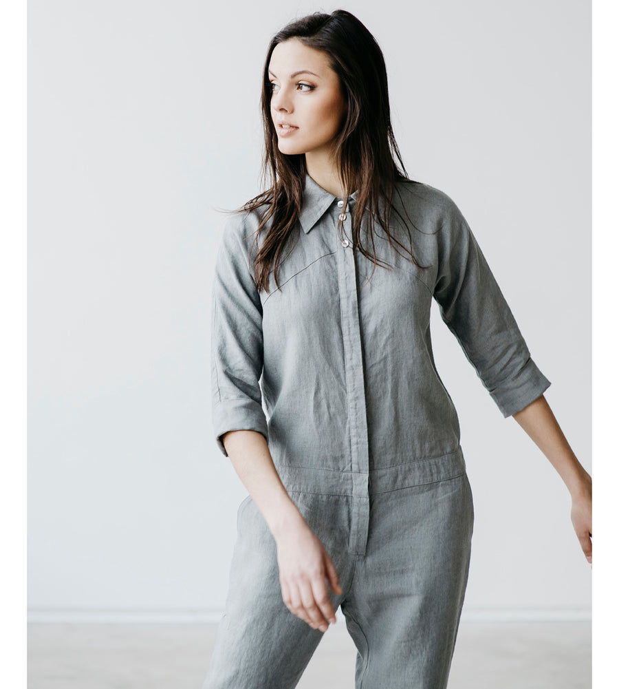 Motumo - Light Grey Long Linen Jumpsuit at Amberoot (2)