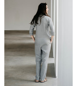 Motumo - Light Grey Long Linen Jumpsuit at Amberoot (3)
