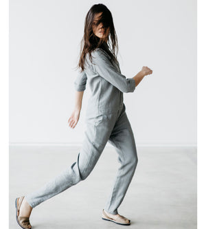 Motumo - Light Grey Long Linen Jumpsuit at Amberoot (4)