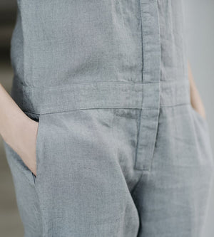 Motumo - Light Grey Long Linen Jumpsuit at Amberoot (6)