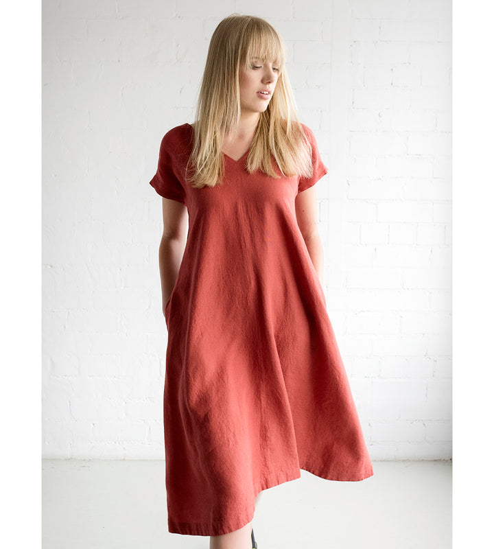 Motumo - Light Red Linen V Neck Summer Dress at Amberoot (1)