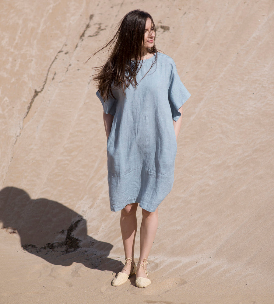 Motumo - Light Sky Linen Kimono Dress at Amberoot (1)