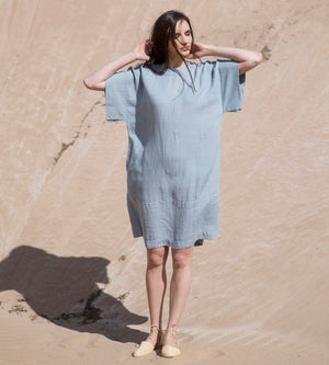 Motumo - Light Sky Linen Kimono Dress at Amberoot (2)