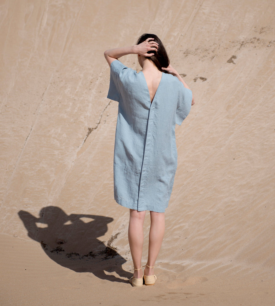 Motumo - Light Sky Linen Kimono Dress at Amberoot (3)