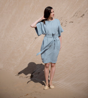 Motumo - Light Sky Linen Kimono Dress at Amberoot (4)