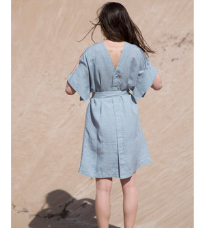 Motumo - Light Sky Linen Kimono Dress at Amberoot (5)