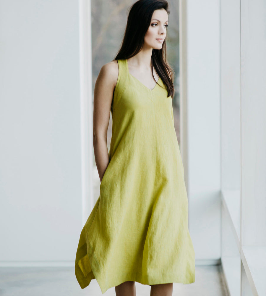 Motumo - Lime Green Linen Beetle Dress at Amberoot (1)