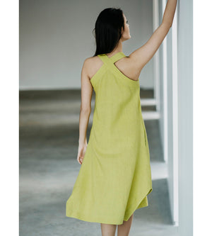 Motumo - Lime Green Linen Beetle Dress at Amberoot (2)