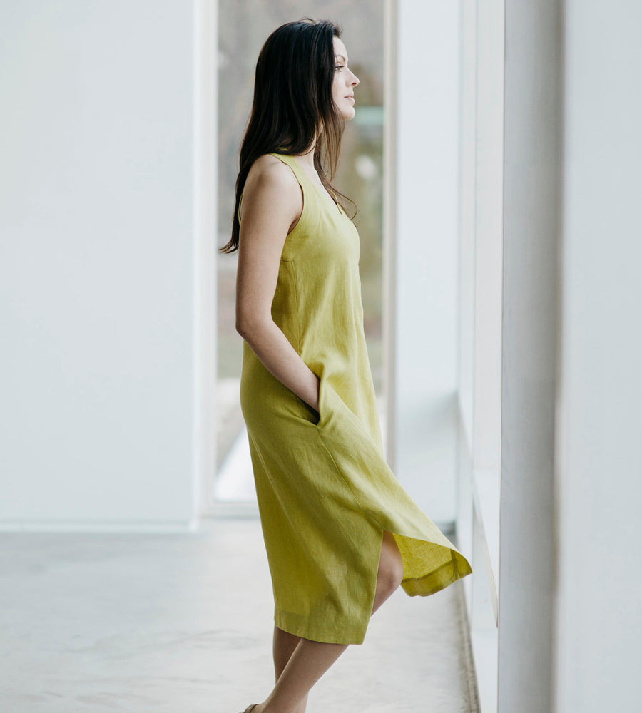 Motumo - Lime Green Linen Beetle Dress at Amberoot (3)