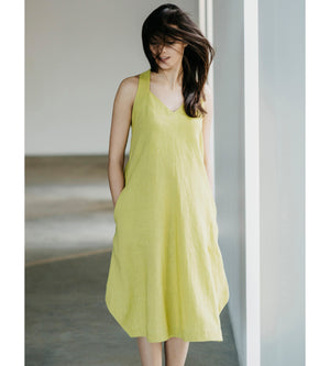 Motumo - Lime Green Linen Beetle Dress at Amberoot (4)