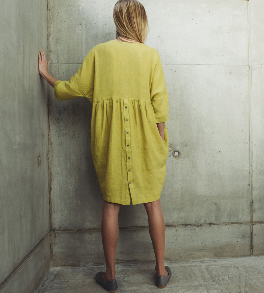Motumo - Lime Green Linen Dress at Amberoot (1)