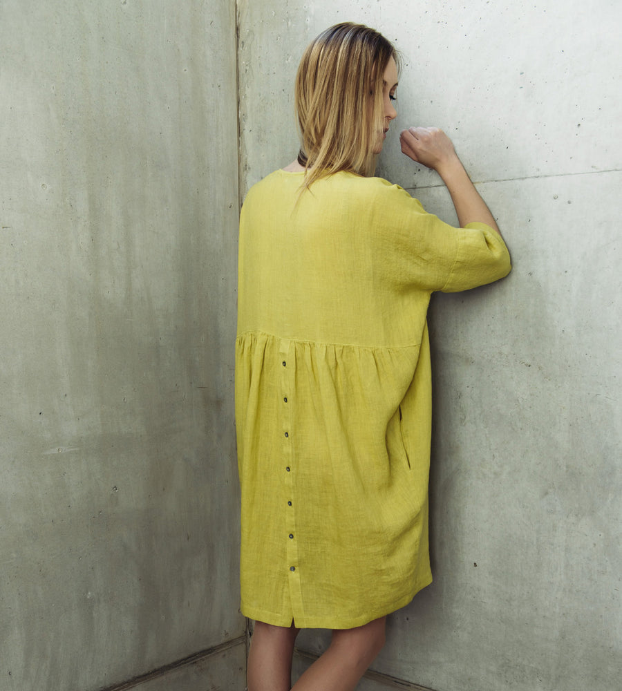 Motumo - Lime Green Linen Dress at Amberoot (2)