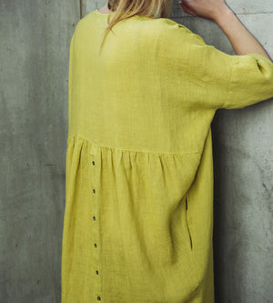 Motumo - Lime Green Linen Dress at Amberoot (3)