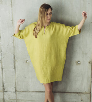 Motumo - Lime Green Linen Dress at Amberoot (5)