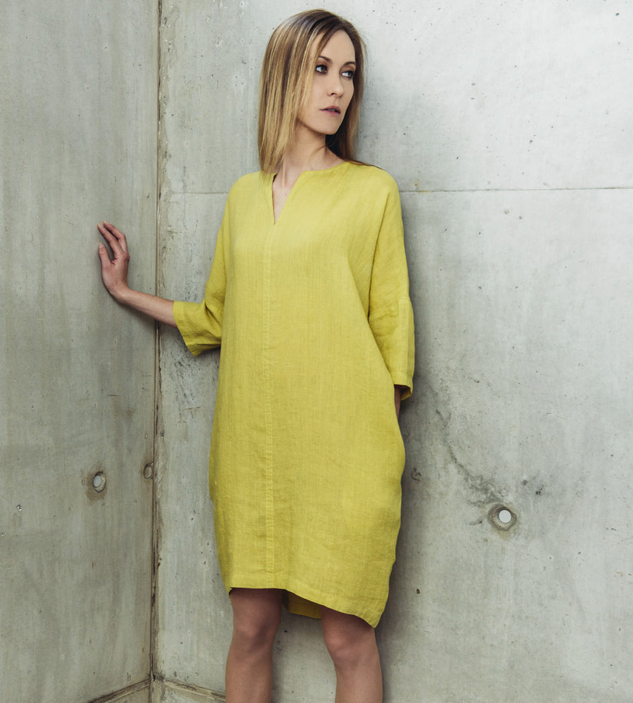 Motumo - Lime Green Linen Dress at Amberoot (6)